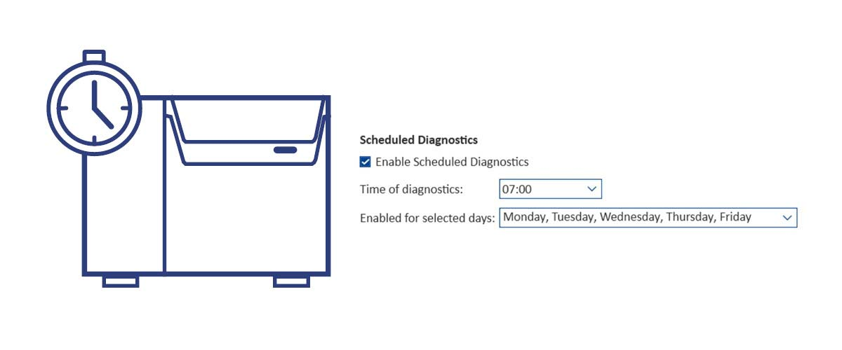 How to enable scheduled diagnostics for NIRS DS2500?