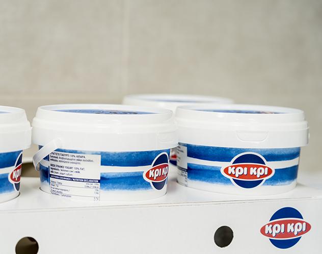 Box with buckets of Kiri Kiri greek yoghurt